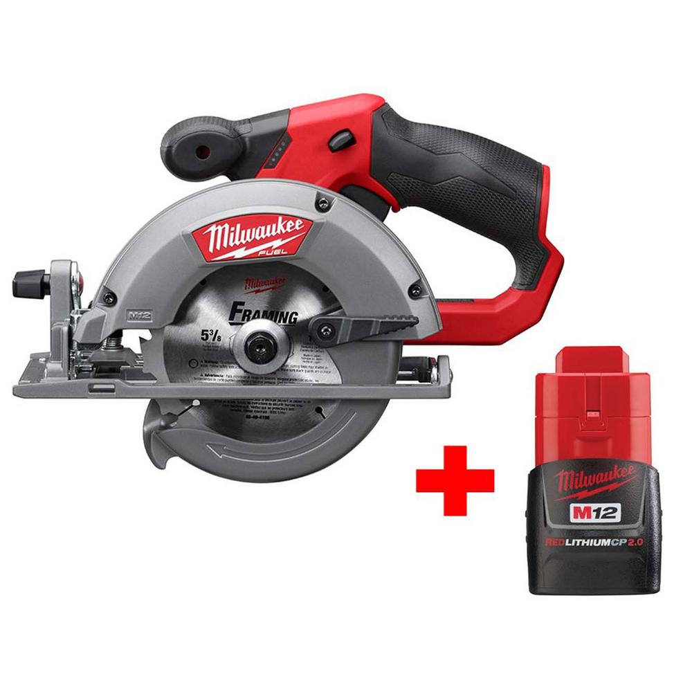 Milwaukee M12 FUEL 12-Volt Lithium-Ion Brushless Cordless 5-3/8 in. Circular Saw W/ Free M12 2.0Ah Battery