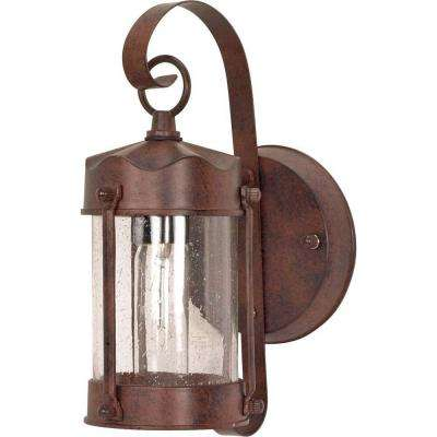 1-Light Outdoor Old Bronze Wall Lantern Piper Lantern with Clear Seed Glass