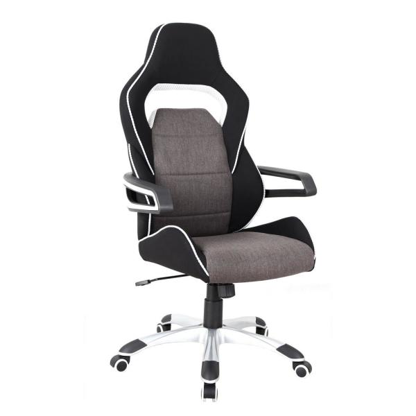 Grey/Black Ergonomic Upholstered Racing Style Home and Office Chair
