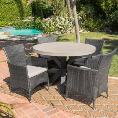 Sanibel Grey 5-Piece Wicker Outdoor Dining Set with Silver Cushions