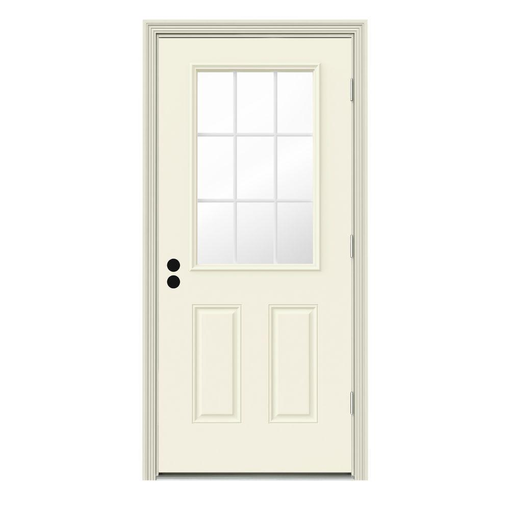JELD-WEN 34 in. x 80 in. 9 Lite Vanilla Painted Steel Prehung Left-Hand Outswing Front Door w/Brickmould