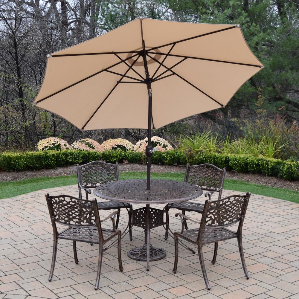 7 Piece Aluminum Outdoor Dining Set And Beige Umbrella