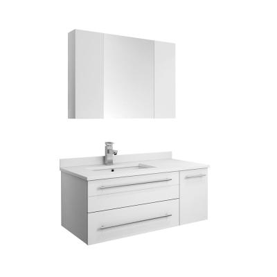 Lucera 36 in. W Wall Hung Vanity in White with Quartz Stone Vanity Top in White with White Basin and Medicine Cabinet