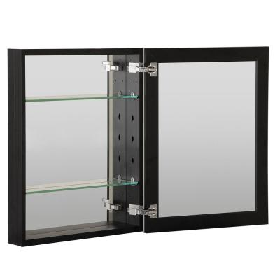 16 in. x 20 in. Recessed or Surface Mount Frameless 1-Door Medicine Cabinet in Black with 2-Adjustable Shelves