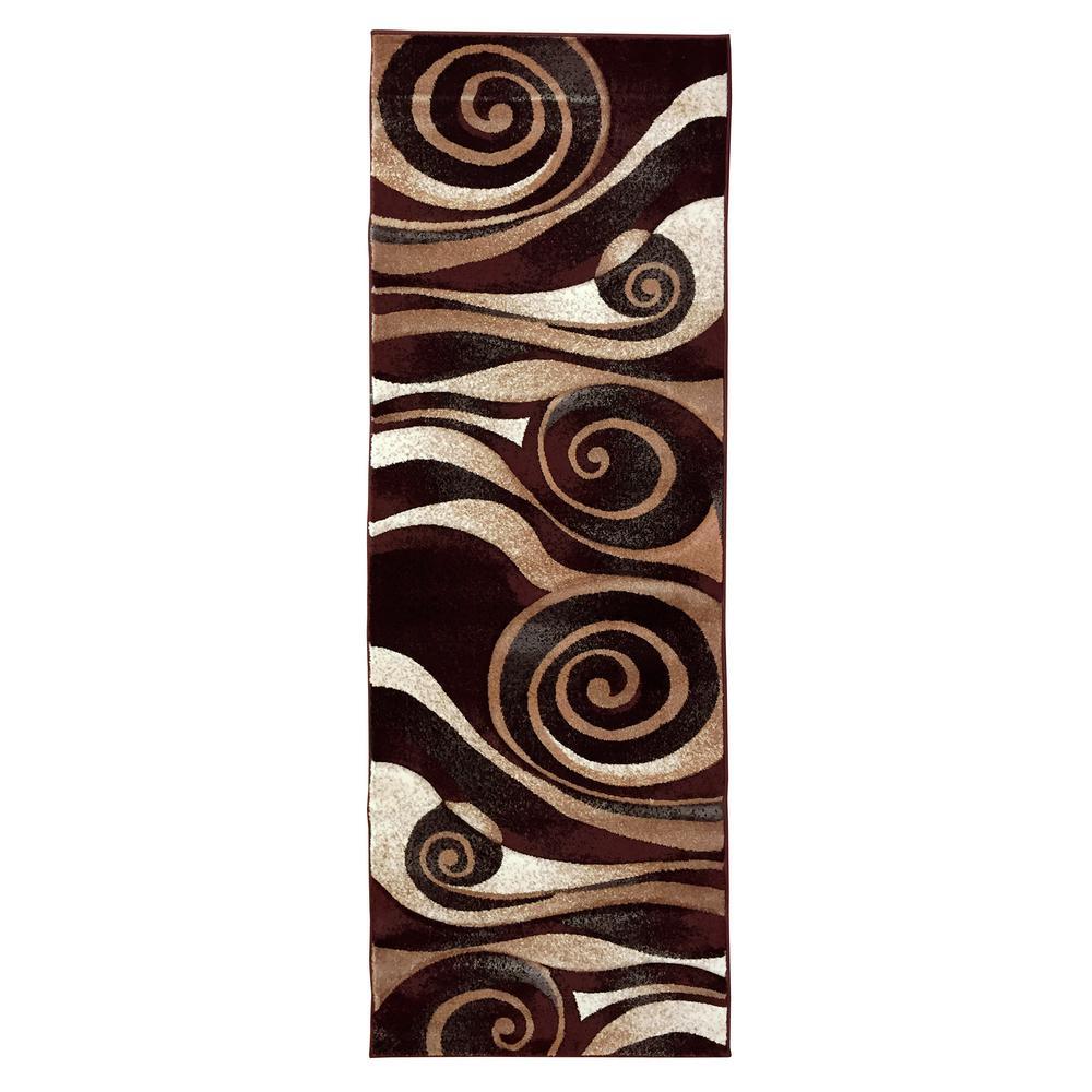 Sculpture Abstract Swirl Design Dark Brown 2 ft. 7.5 in. x 7 ft. 1.5 in. Runner