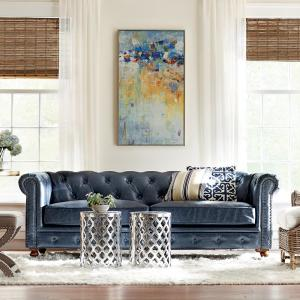 Magnificent Home Decorators Collection Gordon Blue Leather Sofa Andrewgaddart Wooden Chair Designs For Living Room Andrewgaddartcom