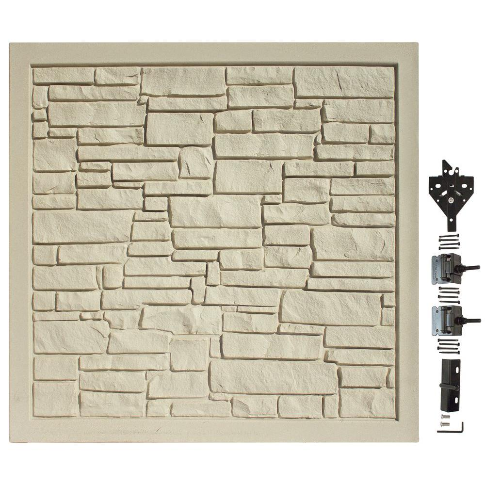 6 ft. W x 6 ft. H EcoStone Beige Composite Privacy