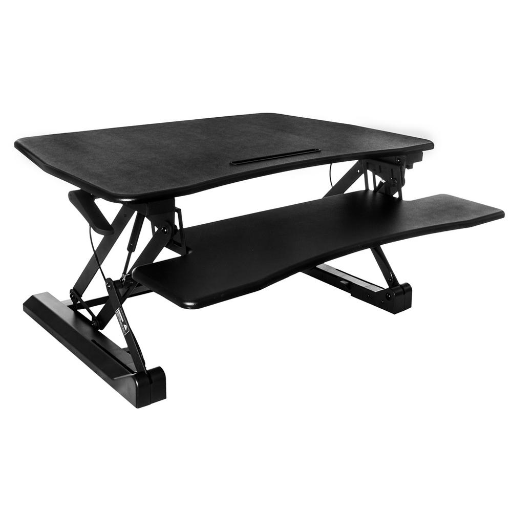 Black Sit to Stand Riser Desk with Pull-Out Keyboard Tray