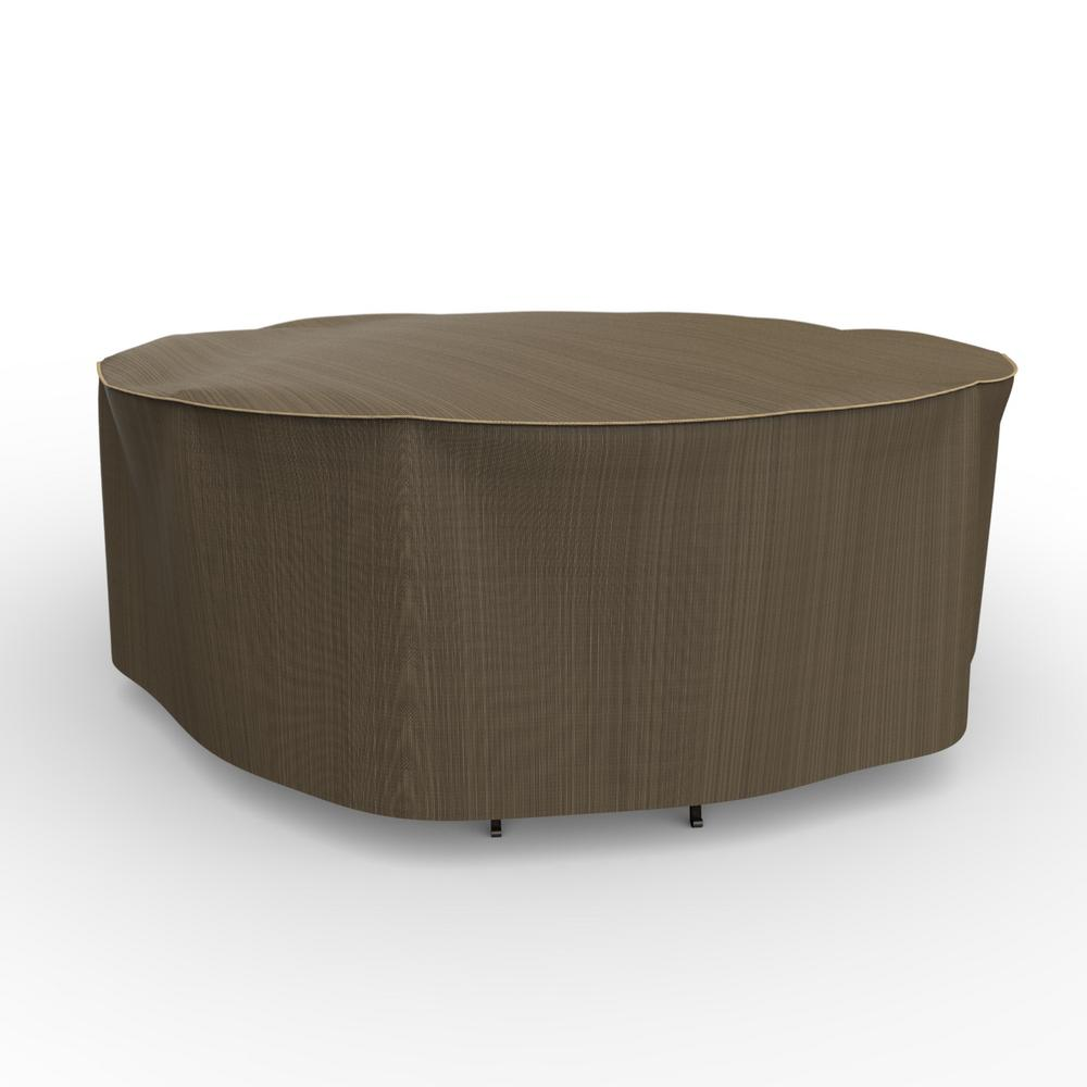Budge NeverWet Hillside Large Black and Tan Round Table and Chairs Combo Cover