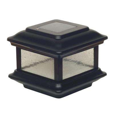 4 in. x 4 in. Black Aluminum Colonial Outdoor Solar Post Cap (2-Pack)