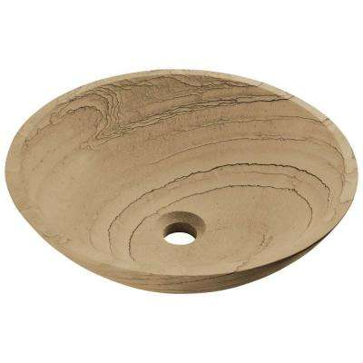 Stone Vessel Sink in Wood Sandstone