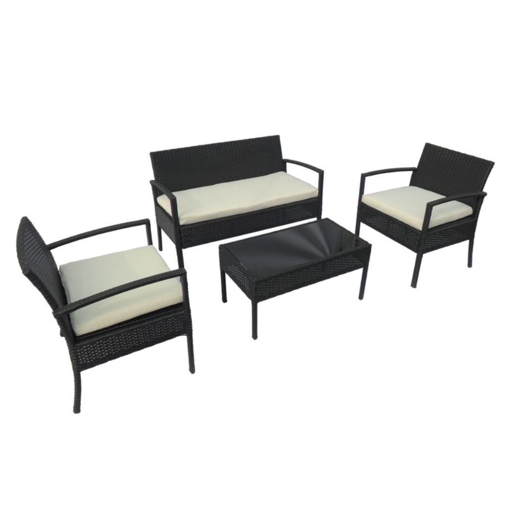 Aleko Linosa Rattan 4 Piece Coffee Table Set In Black Rtfs7502bl Hd