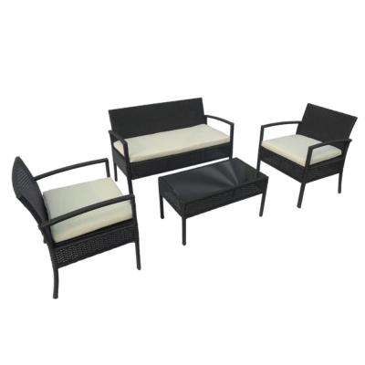 Linosa Rattan 4-Piece Coffee Table Set in Black