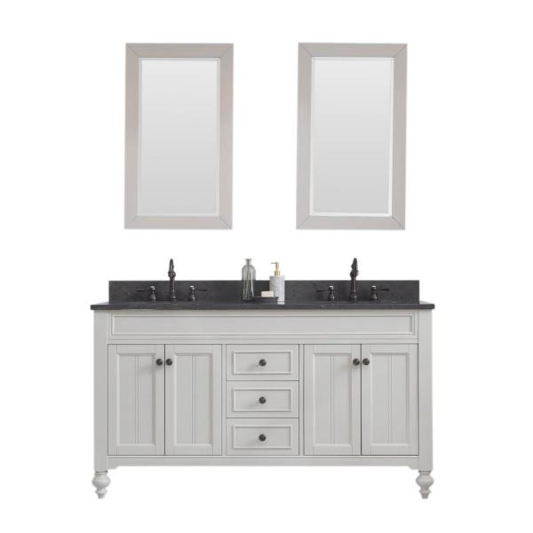 Potenza 60 in. W Bath Vanity in Earl Grey with Blue Limestone Vanity Top in Black with White Basin(s) and Mirror