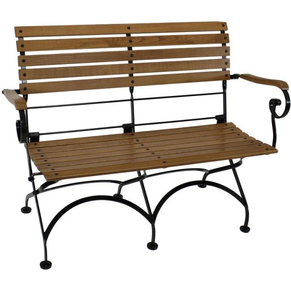 European Chestnut 2-Person Wooden Folding Outdoor Bistro Bench with Arms