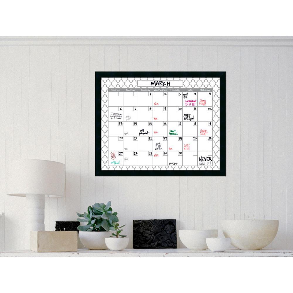 Grey Quatrefoil Calendar 30 in. W x 24 in. H Framed Glass Dry Erase Board