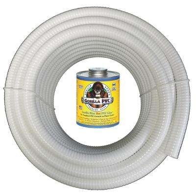 2 in. x 25 ft. White PVC Schedule 40 Flexible Pipe with Gorilla Glue