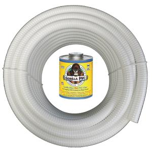 2 in. x 100 ft. White PVC Schedule 40 Flexible Pipe with Gorilla Glue