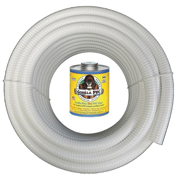 1 1/4 in. x 50 ft. White PVC Schedule 40 Flexible Pipe with Gorilla Glue