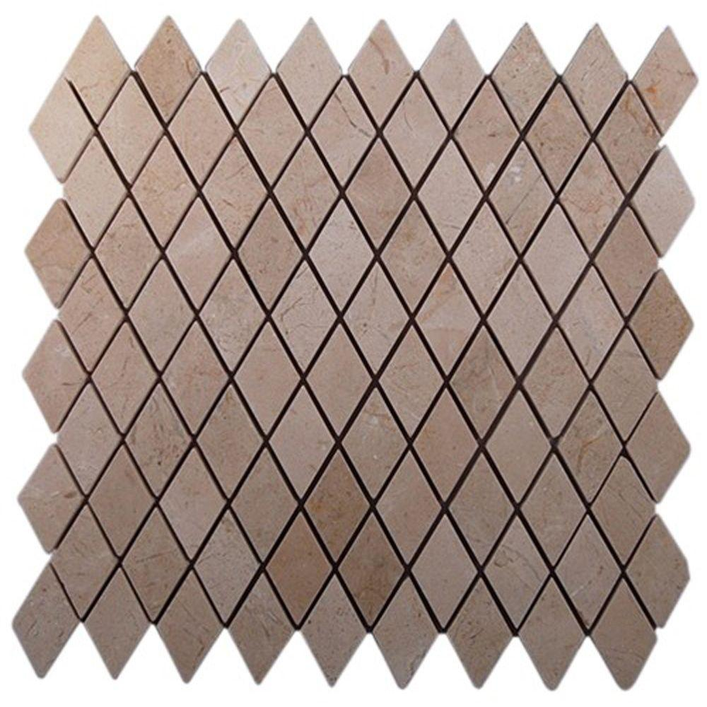 Ivy Hill Tile Crema Marfil Diamond 12 in. x 12 in. x 8 mm Marble Floor and Wall Tile