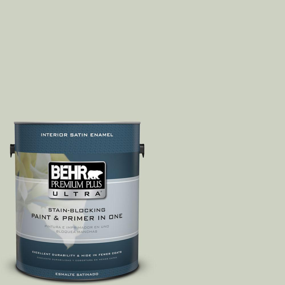 BEHR Premium Plus Ultra 1-Gal. #PPU10-11 Sliced Cucumber Satin Enamel Interior Paint