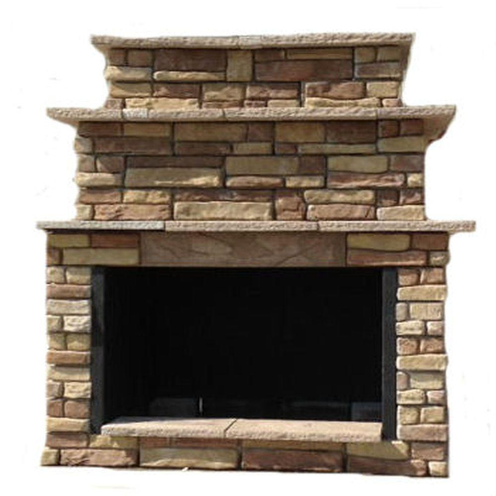 Random Brown Grand Outdoor Fireplace Kit