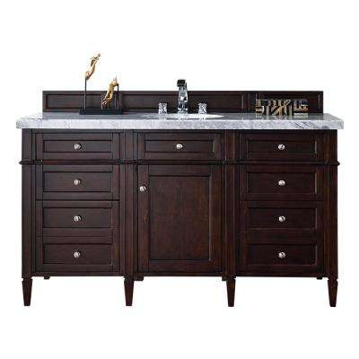 Brittany 60 in. W Single Vanity in Burnished Mahogany with Marble Vanity Top in Carrara White with White Basin