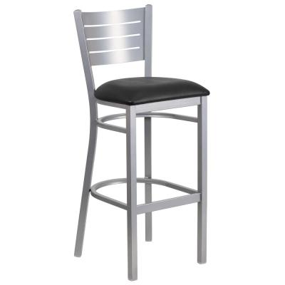 31 in. Black and Silver Cushioned Bar Stool
