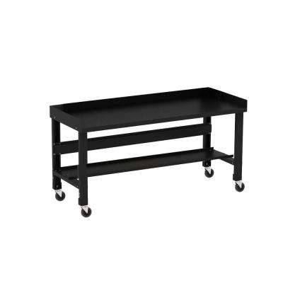 Brilliant 34 In X 60 In Black Painted Heavy Duty Adjustable Height Workbench With Casters Back And End Guards Machost Co Dining Chair Design Ideas Machostcouk