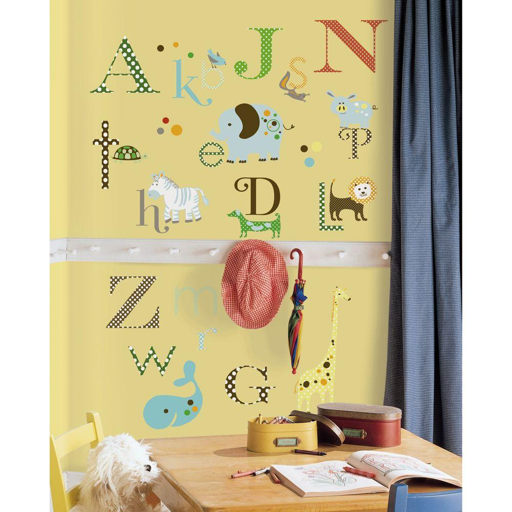10 in. x 18 in. Animal Alphabet 107-Piece Peel and Stick Wall Decals ...
