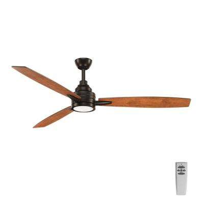 Gaze Collection 60 in. LED Indoor Antique Bronze Ceiling Fan with Light Kit and Remote