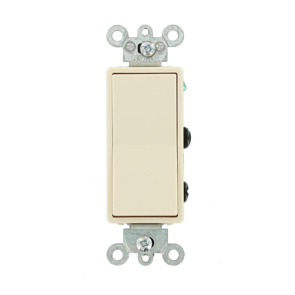 15 Amp Decora Residential Grade 4-Way Lighted Rocker Switch, Light Almond