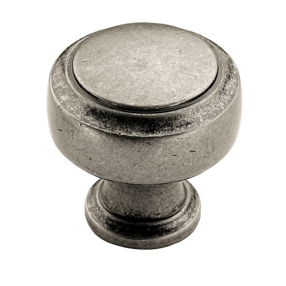 Antique Pewter Round Cabinet Knob