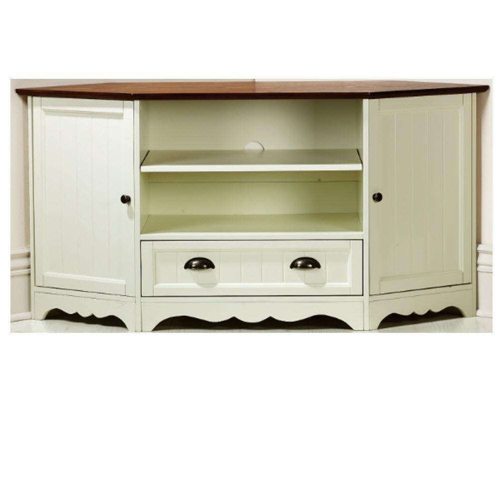 Home Decorators Collection Southport 1-Drawer Corner Media Cabinet in Ivory/Oak