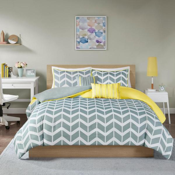 Intelligent Design Laila 5-Piece Yellow King/California King Geometric Duvet