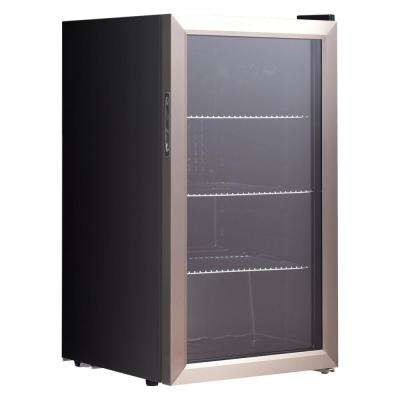3.35 cu. ft. 120 Can Beverage Refrigerator Beer Wine Soda Drink Cooler Mini Fridge Glass Door Black