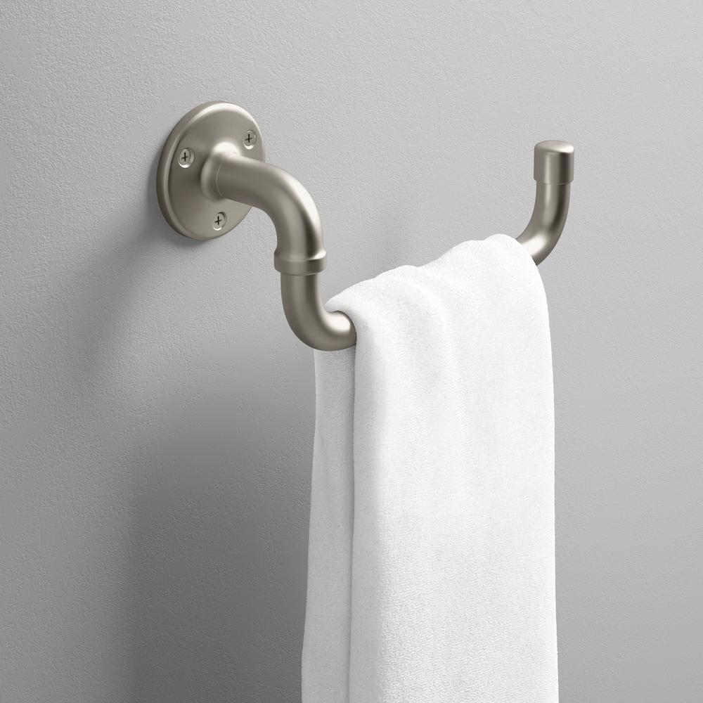 KOHLER Brushed Nickel Towel Arm Rack Holder Metal Made Bathroom Accessories