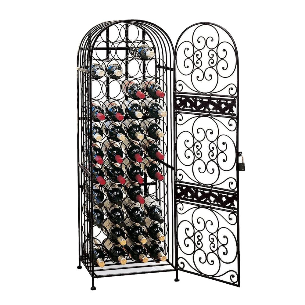 Wine Enthusiast 45-Bottle Antique Floor Wine Rack Guard your wine in grand style, evokes the artistry of the Renaissance, a fitting setting for your wine. Shipment will include two extra pieces of metal. They are only for shipping purposes they can be discarded. Color: Antique.