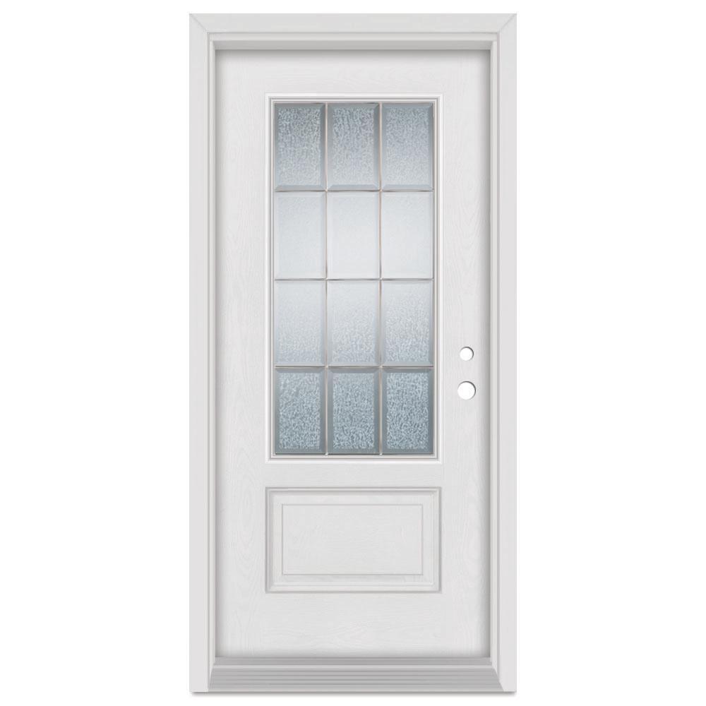 33.375 in. x 83 in. Geometric Left-Hand Brass Finished Fiberglass Mahogany Woodgrain Prehung Front Door Brickmould