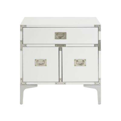 Ida Lacquered White/Chrome End Table Metal Leg Nightstand