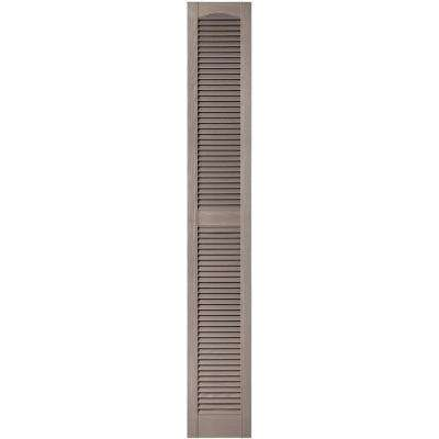 12 in. x 80 in. Louvered Vinyl Exterior Shutters Pair in #008 Clay