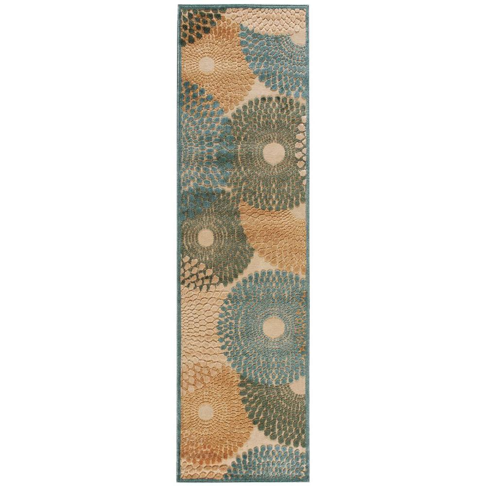 nourison graphic illusions teal 2 ft 3 in x 8 ft rug runner 132949 the home depot. Black Bedroom Furniture Sets. Home Design Ideas