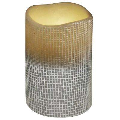 3 in. x 4 in. Flameless Lattice Stone Grey Candle