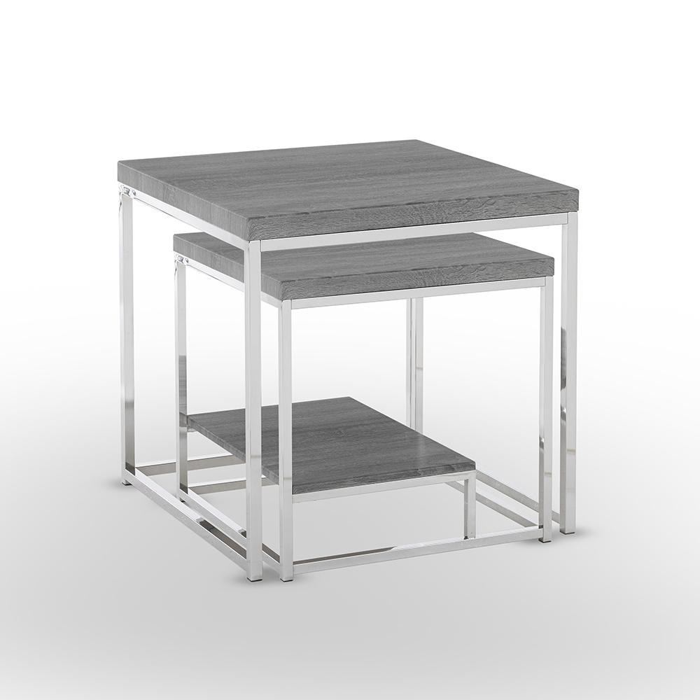 Lucia 2-Piece Dark Brown Nesting Table with Nickel Base