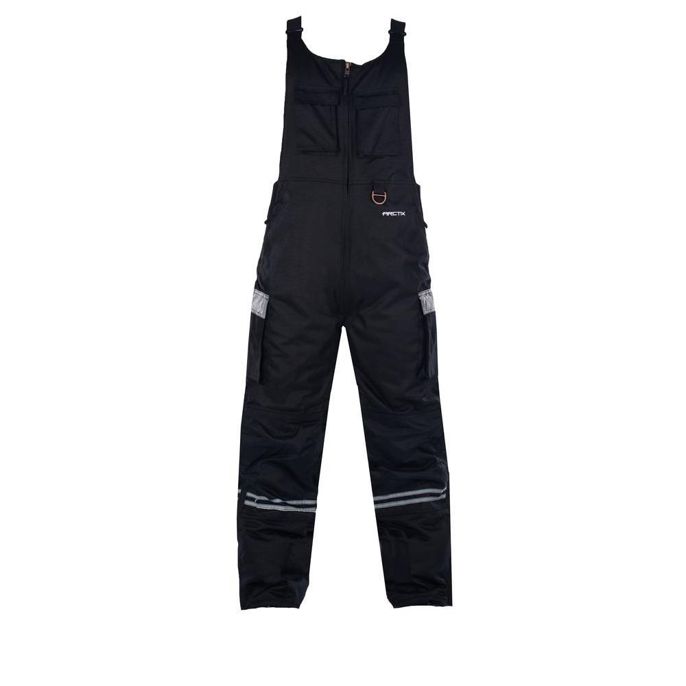 ARCTIX Men's Workwear 44 in. - 46 in. Waist x 32 in. Inseam Snow Bib Overalls in Black