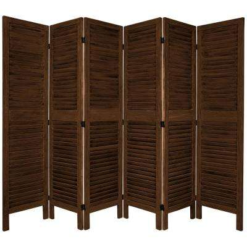 6 ft. Burnt Brown Venetian 6-Panel Room Divider
