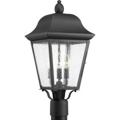 Kiawah Collection 3-Light Outdoor Black Post Lantern