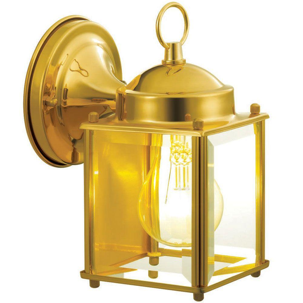 Upc 725916821777 hampton bay wall mounted 1 light polished brass outdoor wall lantern bpm1691m for Exterior wall mounted lanterns