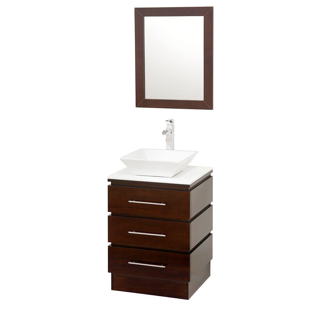 Wyndham bathroom vanities - Wyndham Collection Rioni 22 1 4 In Vanity In Espresso With Glass Vanity