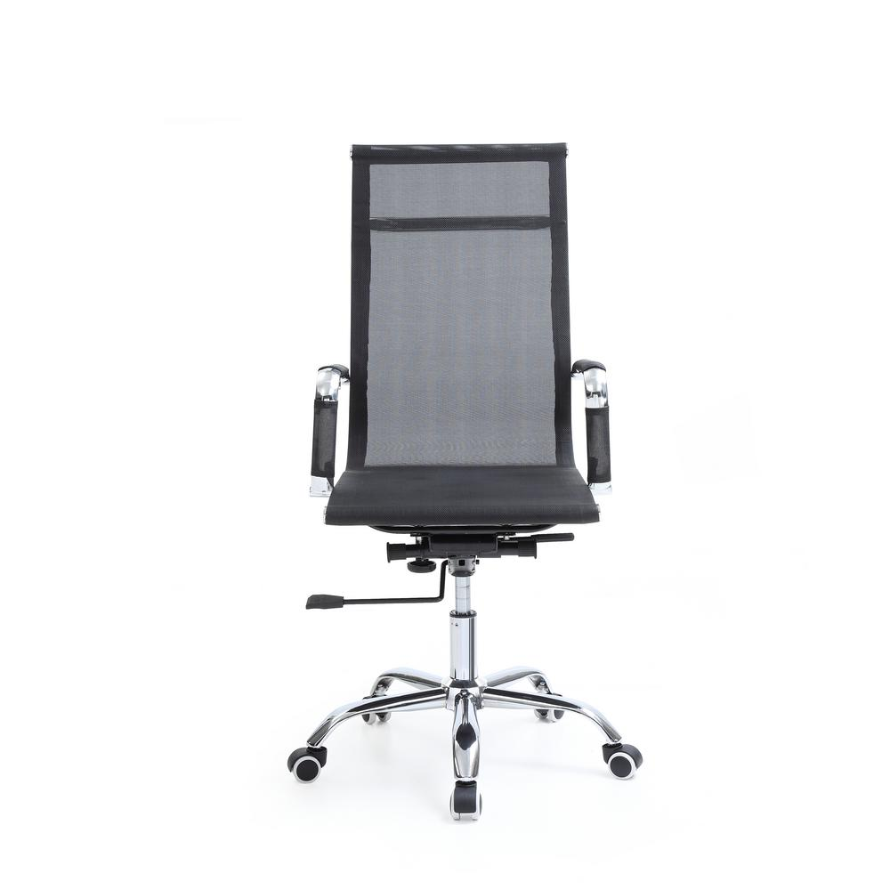 Hodedah Black Mesh High Back Adjule Height Swiveling Executive Chair With Chrome